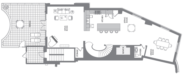 Sample floor plan for Unit 4, second floor