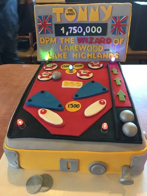 Dave Perry-Miller Real Estate's pinball cake was won by Carrie Hill with a bid of $400.