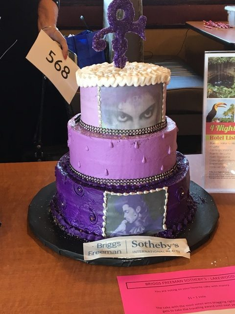 "Briggs Freeman Sotheby's ""Purple Rain"" Price Tribute Cake won the Golden Spoon Award at the East Dallas MLS Broker Bake Off on March 1, 2017."