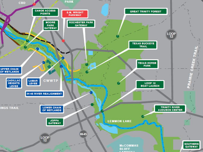 Map of Trails and Sites, from dallastrinitytrails.blogspot.com