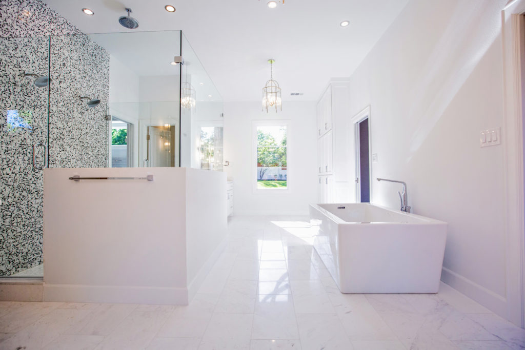 Master bath with his-and-hers everything.