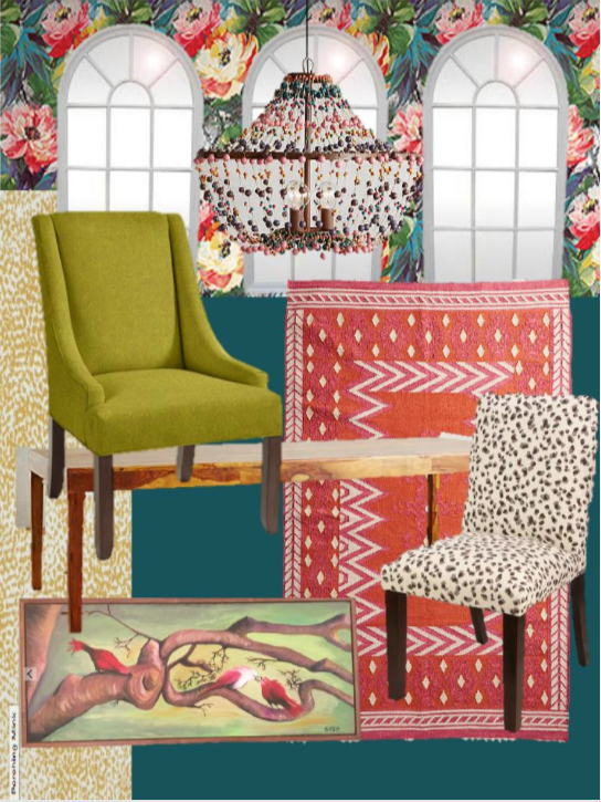 Design board for Sara Rapier's dining room, featuring Kim Armstrong's signature bold, colorful style