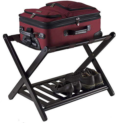 Folding luggage rack for a little extra storage.