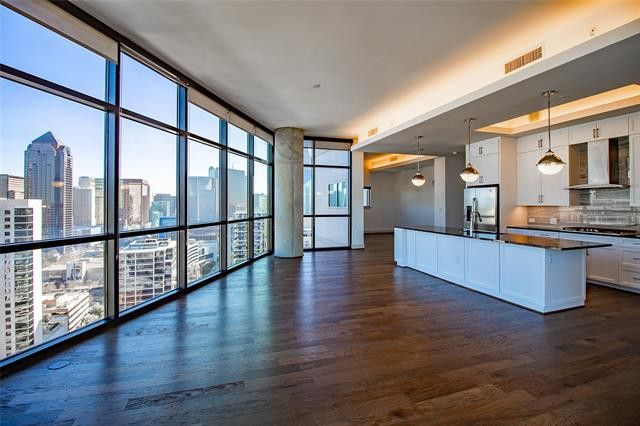 The view alone is worth the hefty price tag at this 31st floor penthouse in Victory Park.