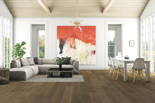 white oak flooring in sunny living room