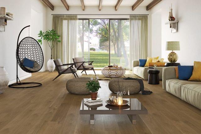 white oak flooring in contemporary living room