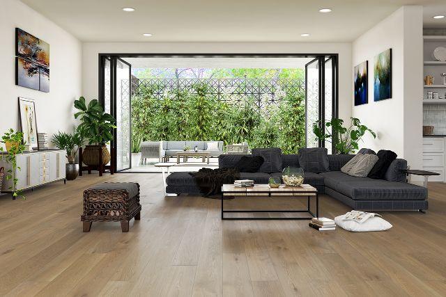 white oak flooring in spacious living room