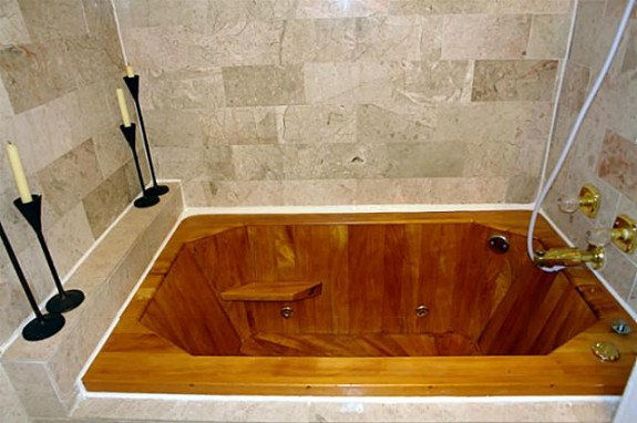 iu0027ve seen and lusted after a lot of tubs in my years of but i have never in my life seen a wooden jetted tub - Jetted Tubs