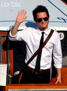 US actor  Elijah Wood waves to photographers upon his arrival