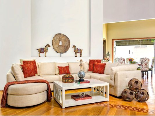 Modern Couch with Antiques