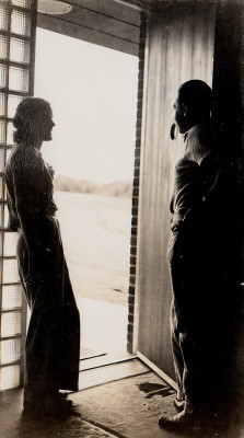 Billie and Stanley Marcus in the doorway of their new home, 1938, courtesy of Allison Smith